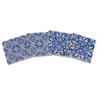 Blue Tile Coasters Set4 6cmH