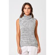 Elena Knitted Turtle-Neck Vest Speckled