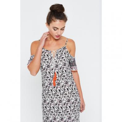Gardinia Cold Shoulder Maxi Dress Bud Print