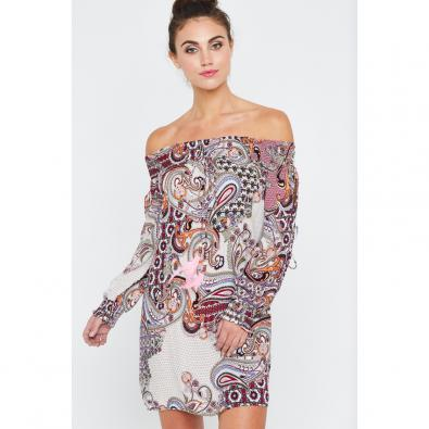 Sabrena Off Shoulder Dress Cashew Print
