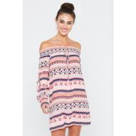 Sabrena Off Shoulder Dress Circle Print