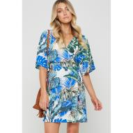 Aruba Monstera Palm Wrap Dress