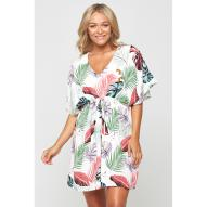 Barbados Cinched Monstera Palm Dress