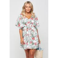 Barbados Cinched Hibiscus Palm Dress