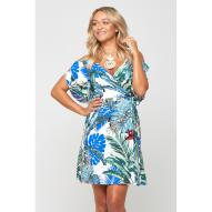 Curacao Cold Shoulder Monstera Palm Dress